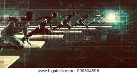 Tech Startup with Driven Business Team of People 3D Illustration Render