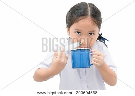 Asian Student Girl Flushing Her Nose With Syringe And Saline Isolated