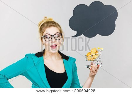 Bussines Woman Holding Shopping Cart With Sweet Bun