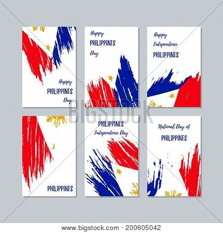 Philippines Patriotic Cards For National Day. Expressive Brush Stroke In National Flag Colors On Whi