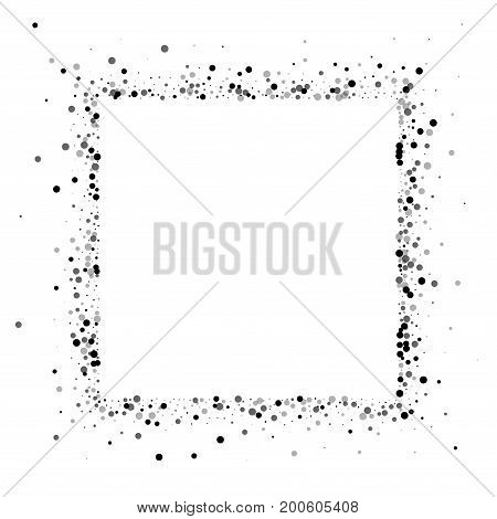 Dense Black Dots. Square Abstract Border With Dense Black Dots On White Background. Vector Illustrat