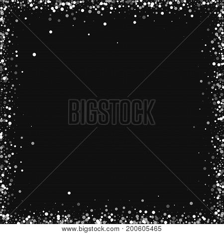 Random Falling White Dots. Chaotic Frame With Random Falling White Dots On Black Background. Vector