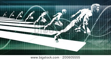 Conceptual Business Chart Background with Technology Art 3D Illustration Render