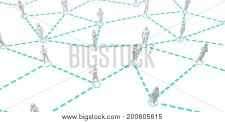 Crowd of People Online Smiling and Video Profile Avatar 3D Illustration Render