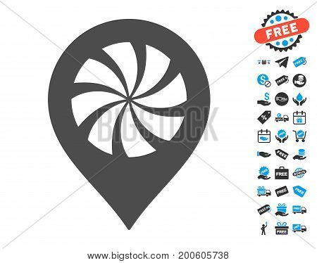 Cooler Fan Marker gray icon with free bonus design elements. Vector illustration style is flat iconic symbols.