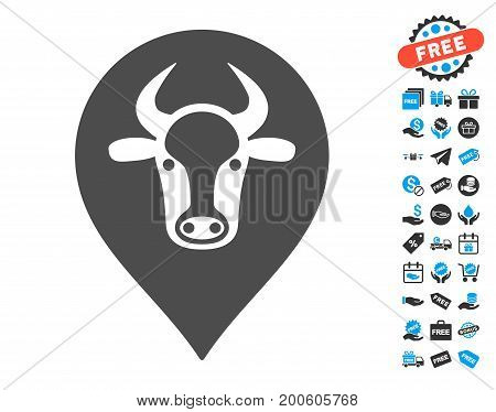 Cow Map Marker gray pictograph with free bonus icon set. Vector illustration style is flat iconic symbols.
