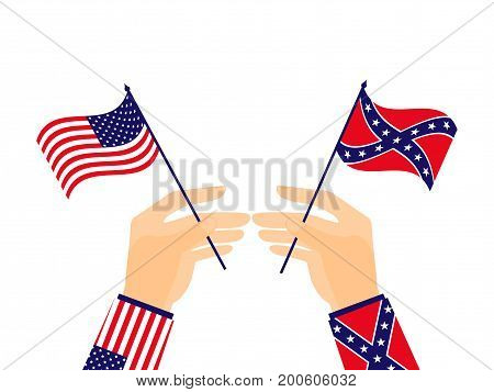 Hand Holds The Flag Of The United States Of America And The Confederates. Vector Illustration