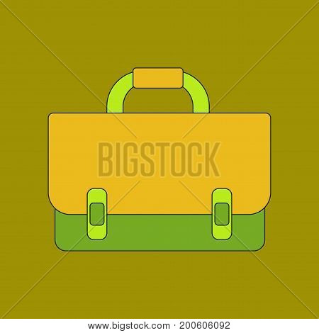 flat icon with thin lines school bag backpack
