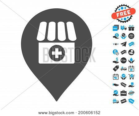 Drugstore Marker gray pictograph with free bonus pictograph collection. Vector illustration style is flat iconic symbols.