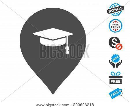 Education Marker grey icon with free bonus images. Vector illustration style is flat iconic symbols.