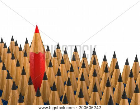 leadership concept with 3d rendering red pencil among black pencils