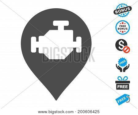 Engine Marker gray icon with free bonus clip art. Vector illustration style is flat iconic symbols.