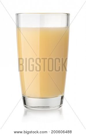 Glass of banana juice isolated on white