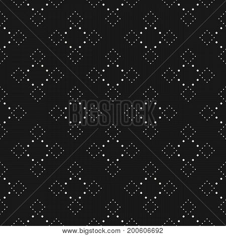 Subtle dotted seamless pattern, delicate vector texture in dark colors. Stylish abstract repeat background with tiny circles in square form. Elegant dark design for decor, covers, package, digital.