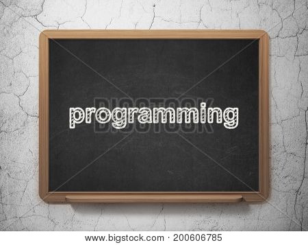 Database concept: text Programming on Black chalkboard on grunge wall background, 3D rendering
