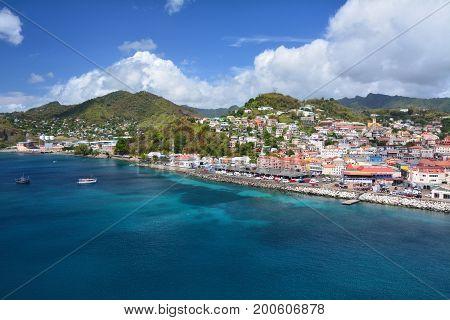 Saint George city port in Grenada Caribbean