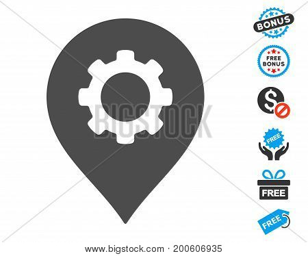 Gear Factory Marker grey pictograph with free bonus pictograph collection. Vector illustration style is flat iconic symbols.