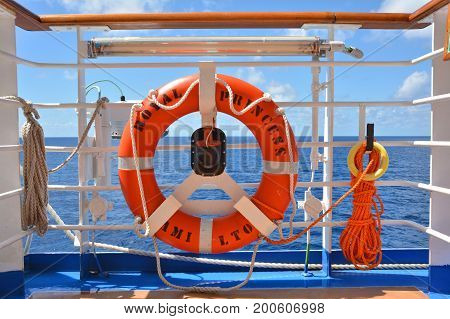 ROYAL PRINCESS CARIBBEAN SEA - MARCH 29 2017 : Lifebuoy on Royal Princess ship sailing to Fort Lauderdale. Royal Princess is operated by Princess Cruises line and has a capacity of 3600 passengers