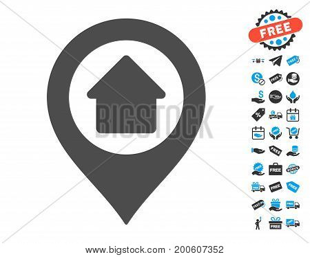 Home Marker grey pictograph with free bonus pictograms. Vector illustration style is flat iconic symbols.