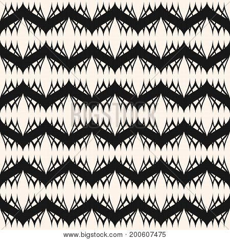 Vector seamless pattern. Elegant monochrome geometric background, wavy lines, lace texture. Delicate abstract backdrop, repeat tiles. Stylish design for prints, home, decor, textile, fabric, furniture.