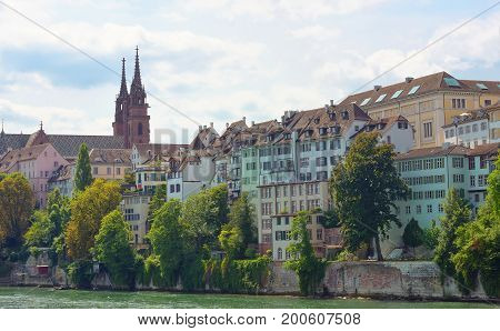View from Mittlere bridge over Rhine river in Basel -21 july 2017