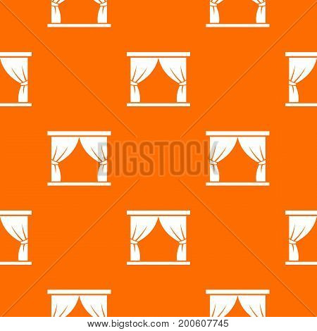 Curtain on stage pattern repeat seamless in orange color for any design. Vector geometric illustration