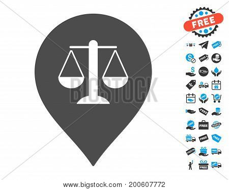 Justice Weight Marker gray pictograph with free bonus clip art. Vector illustration style is flat iconic symbols.