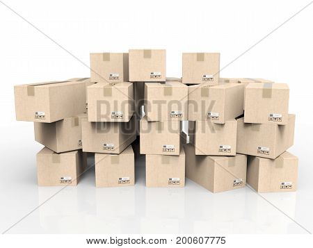 3d rendering heap of stockpile on white background