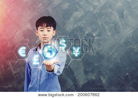 business technology internet and finance concept - young man show global currency or exchange worldwide on virtual screens