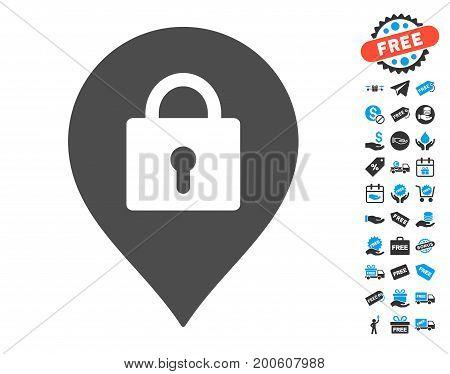 Locker Marker grey pictograph with free bonus icon set. Vector illustration style is flat iconic symbols.