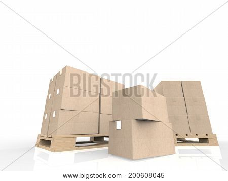 Stack Of Cardboard Boxes On Wooden Pallet