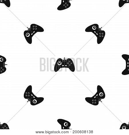 One joystick pattern repeat seamless in black color for any design. Vector geometric illustration