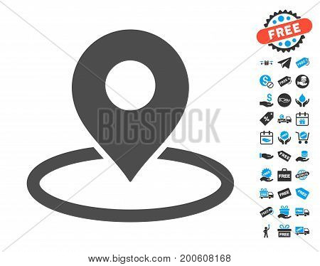 Map Marker Location gray icon with free bonus images. Vector illustration style is flat iconic symbols.