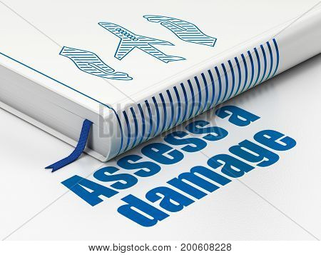 Insurance concept: closed book with Blue Airplane And Palm icon and text Assess A Damage on floor, white background, 3D rendering