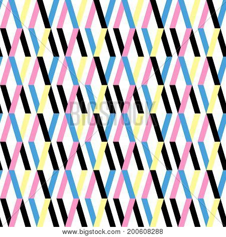 Simple geometric pattern texture. Seamless background. Seamless repeating retro style texture set with rhombus. Colorful geometric backdrop.