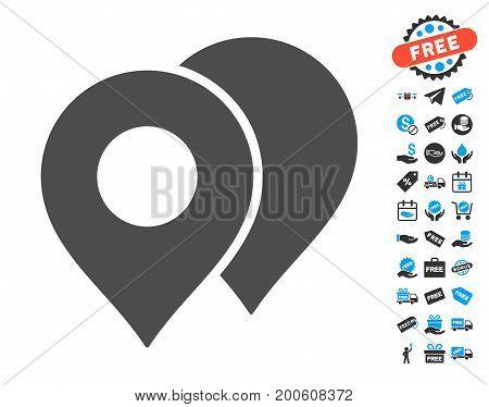 Map Markers grey icon with free bonus design elements. Vector illustration style is flat iconic symbols.
