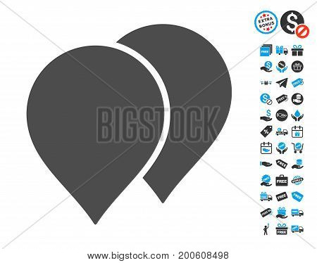 Map Pointers gray pictograph with free bonus symbols. Vector illustration style is flat iconic symbols.