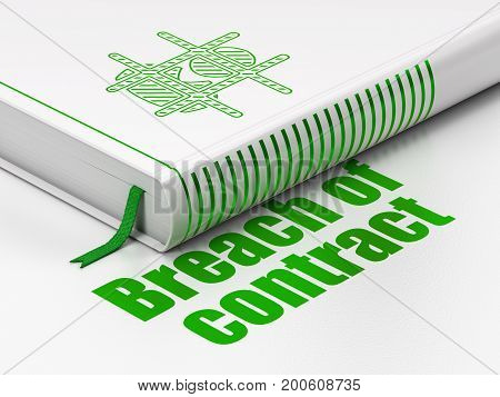 Law concept: closed book with Green Criminal icon and text Breach Of Contract on floor, white background, 3D rendering