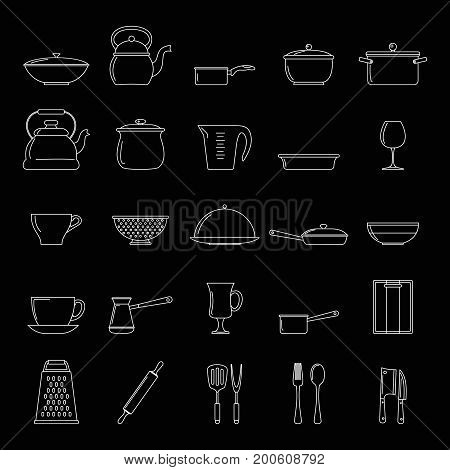 Kitchen dishes set thin line vector illustration for design and web isolated on black background. Kitchen dishes vector object for labels  and advertising