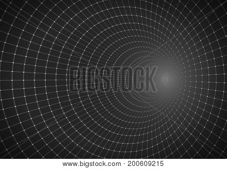 Illustration of Vector Tunnel Background. 3D Wireframe Grid Tunnel