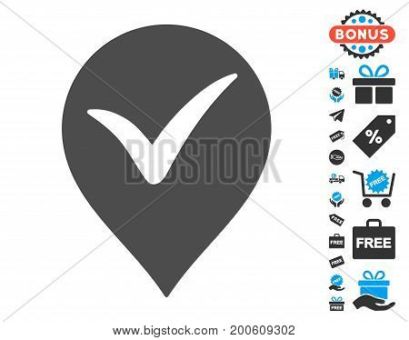 Ok Marker grey pictograph with free bonus pictograms. Vector illustration style is flat iconic symbols.