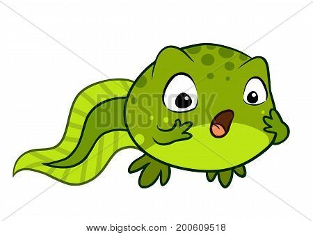 Cartoon vector character illustration of a cute green baby tadpole looking surprised with wide eyes and open mouth hands on cheeks. Showing human emotion feeling shocked stunned or excited.