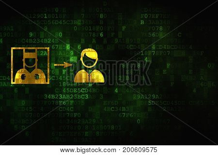 Law concept: pixelated Criminal Freed icon on digital background, empty copyspace for card, text, advertising
