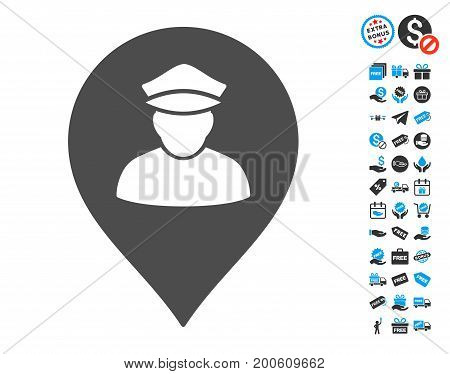 Policeman Map Marker gray pictograph with free bonus graphic icons. Vector illustration style is flat iconic symbols.