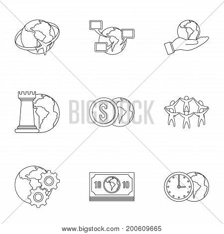 Global comunity icon set. Outline set of 9 global comunity vector icons for web isolated on white background