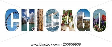 Banner collage of Chicago images isolated on white