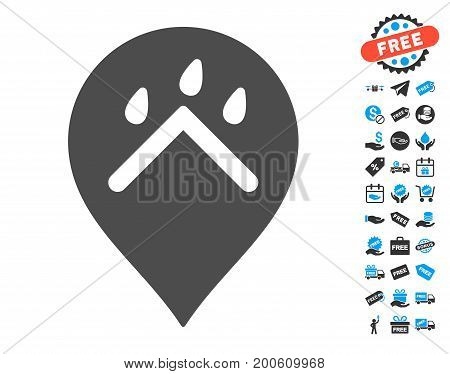 Rain Protection Marker gray pictograph with free bonus graphic icons. Vector illustration style is flat iconic symbols.