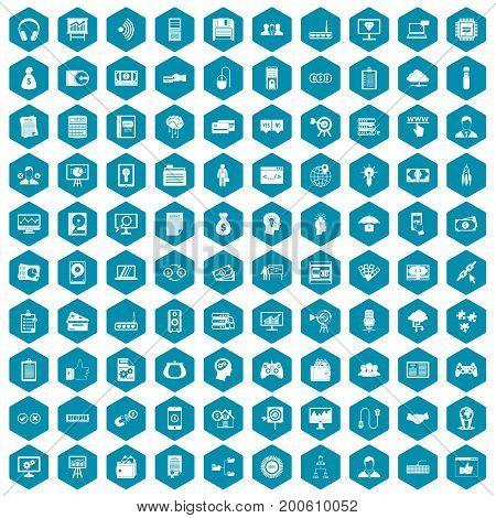 100 IT business icons set in sapphirine hexagon isolated vector illustration