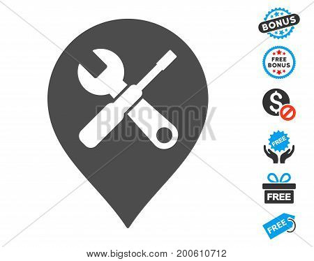 Repair Tools Map Marker gray pictograph with free bonus pictures. Vector illustration style is flat iconic symbols.