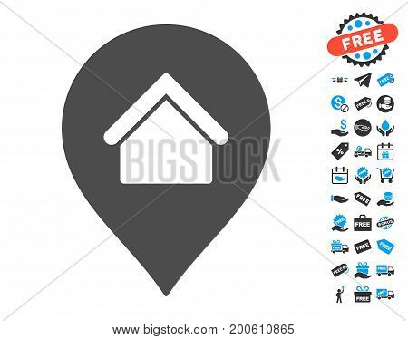 Residence Marker gray pictograph with free bonus pictograph collection. Vector illustration style is flat iconic symbols.